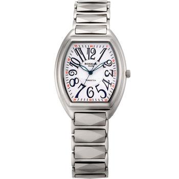 BOSSWAY酒桶鎢鋼腕錶-33mm-黑/粉紅/白