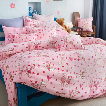 【義大利Fancy Belle】甜蜜寶貝熊 加大四件式雪芙絨被套床包組