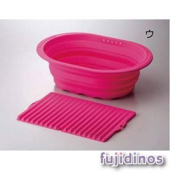 【炫彩亮眼】折疊式矽膠收納盆&瀝水墊組(粉紅色)