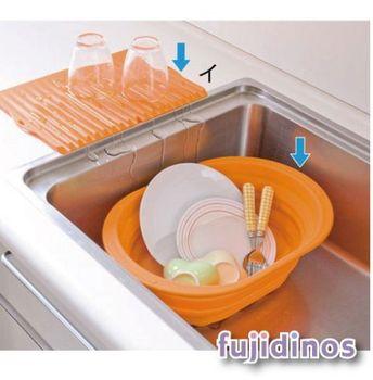 【炫彩亮眼】折疊式矽膠收納盆&瀝水墊組(橘色)