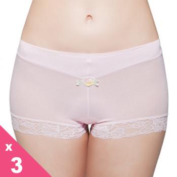 【MIGER密格內衣】玫瑰蕾絲中低腰平口內褲三件組 台灣製 (8228)