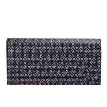 Salvatore Ferragamo 經典滿版馬蹄壓紋撞色小羊皮對折長夾(黑X灰)XE3302-032-SILVER-NATUR