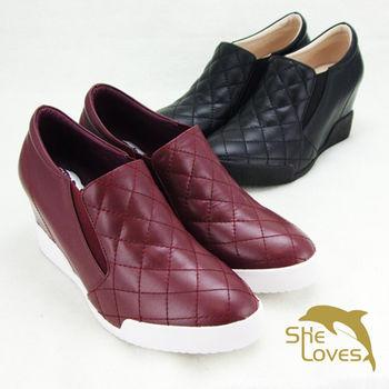 【SHELOVES喜樂絲】香奈兒風格菱格拼接內增高短靴(2H14002)