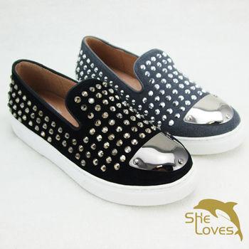 【SHELOVES喜樂絲】時尚鉚釘牛京皮氣墊休閒鞋(2CJ14B01)