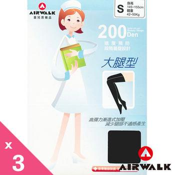 AIR WALK 200丹蕾絲大腿襪 彈性褲襪  ( 黑 )3雙一組
