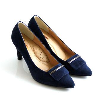 【ANNAlee】知性質感金屬牛麂皮尖頭高跟鞋-深藍色
