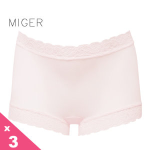 [MIGER密格內衣]薄紗蕾絲中腰平口內褲-粉色+葡萄紫+黃色