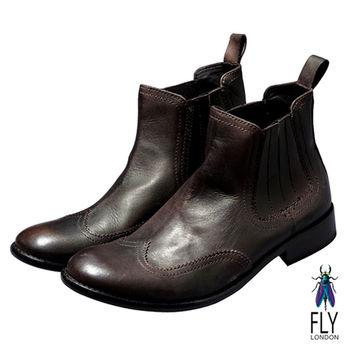 Fly London(男)★極簡文人牛皮抛面半筒靴 - 暗深咖