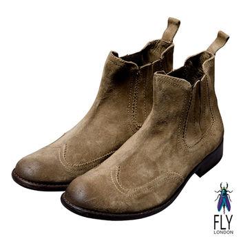 Fly London(男)★極簡文人反牛皮半筒靴-沙褐色