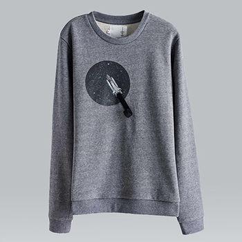 【摩達客】韓國進口設計品牌DBSW火箭上太空 - 圓領長袖T恤
