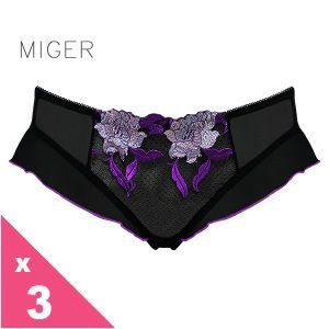 [MIGER密格內衣]艷紫桔梗性感網紗中低腰三角內褲-葡萄紫+柑色+粉色