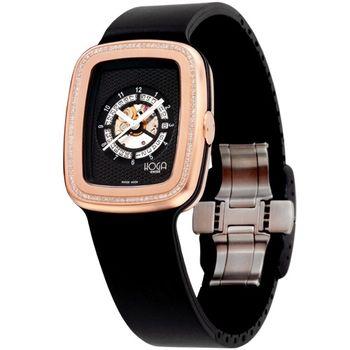 HOGA 義式風格鏤空真鑽機械腕錶-黑/33mm