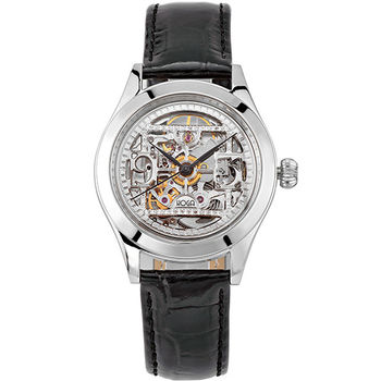 HOGA 絕美工藝全鏤空真鑽機械腕錶-銀/30mm