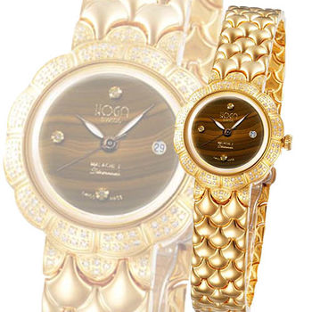 HOGA 高貴王妃虎眼寶石機械真鑽錶-琥珀色-33mm