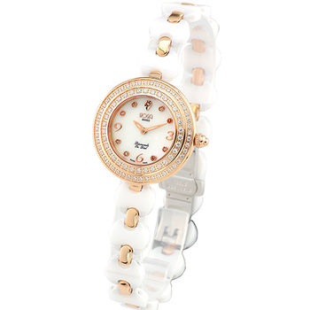 HOGA 浪漫舞曲陶瓷真鑽腕錶-白/28mm