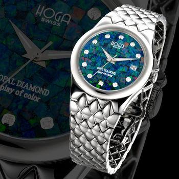 HOGA 澳洲國寶蛋白石真鑽機械男錶-綠-37.5mm