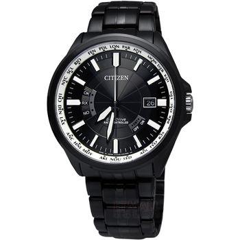 CITIZEN 電波時計‧最後防線Eco-Drive防磁萬年曆腕錶_黑色〈CB0014-52E〉