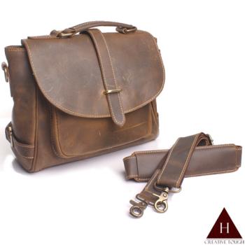 【H-CT】雅致褐設計款可斜背真皮手提包(3920-Z)