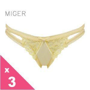 [MIGER密格內衣]蕾絲網紗低腰三角內褲-黃色+藍色+桃紅
