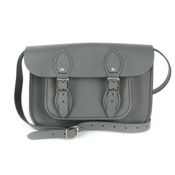 【The Leather Satchel Co.】11吋 英國手工牛皮劍橋包(紳士灰)