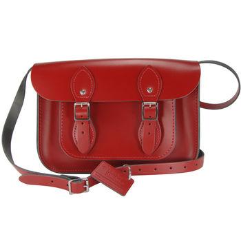 【The Leather Satchel Co.】11吋 英國手工牛皮劍橋包(心機紅)