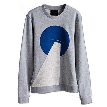 【摩達客】韓國進口設計品牌DBSW幽浮探照 - 圓領長袖T恤