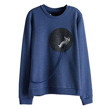 【摩達客】韓國進口設計品牌DBSW漂浮外太空 - 圓領長袖T恤