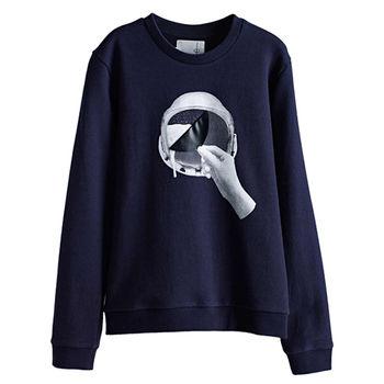 【摩達客】韓國進口設計品牌DBSW太空帽啤酒 - 圓領長袖T恤