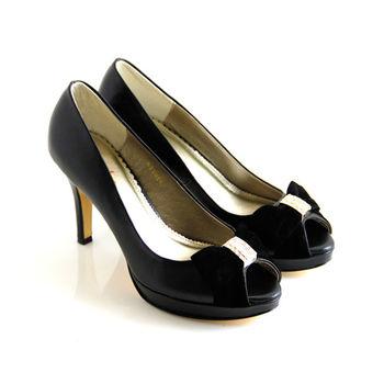 【ANNAlee】絨布蝴蝶結拼接水鑽魚口高跟鞋-黑色
