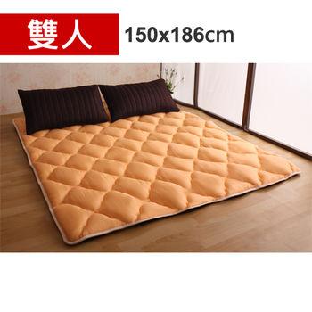 【HB】雙面機能羊毛保暖收納睡墊+枕套(橙香咖啡-雙人)