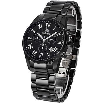 ARSA義式經典高科技陶瓷三眼計時碼錶-全黑-41mm