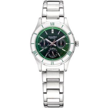 羅梵迪諾 Roven Dino 時尚玩色藍寶石水晶鏡面鋼帶腕錶-綠色 35mm〈RD672〉