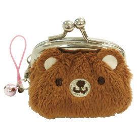 UNIQUE 動物樂園迷你珠扣零錢包  小棕熊