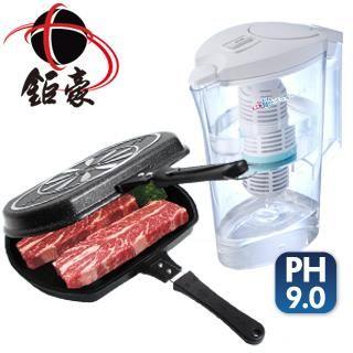 【鉅豪】韓國不沾雙面煎烤鍋+鹼單喝濾水壺(鹼單樂活組)