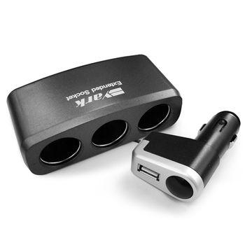 YARK三孔附USB插座(煙灰色) (車充/充電/擴充/轉換器)