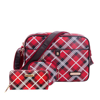 【XINWEI POLO】經典女伶紅格側背包附零錢包+皮夾
