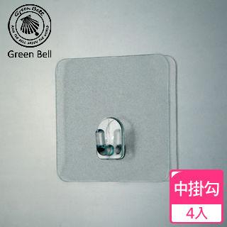 【GREEN BELL】EASY-HANG輕鬆掛透明無痕掛勾系列-中掛勾(四入組)