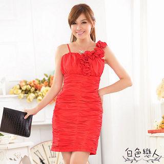 【白色戀人中大尺碼】紅色單肩修身收腹包臀禮服連衣裙