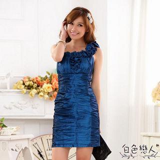 【白色戀人中大尺碼】藍色單肩修身收腹包臀禮服連衣裙