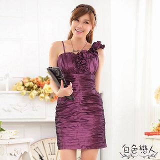 【白色戀人中大尺碼】紫色單肩修身收腹包臀禮服連衣裙