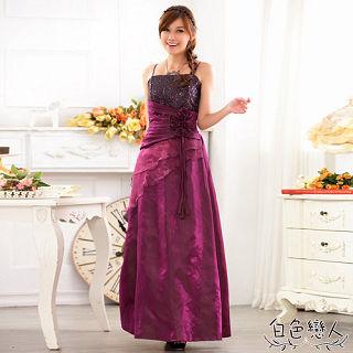 【白色戀人中大尺碼】紫色露肩修身宴會長禮服