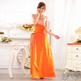 【白色戀人中大尺碼】金橙色露肩修身宴會長禮服
