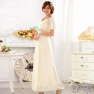 【白色戀人中大尺碼】香檳色V領釘珠宴會雪紡長禮服