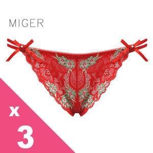 [MIGER密格內衣]鏤空蕾絲網紗性感中低腰三角褲-紅色+葡萄紫+桃粉色