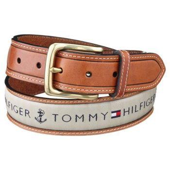 Tommy Hilfiger 2012男時尚織帶鑲嵌棕色皮帶(預購)