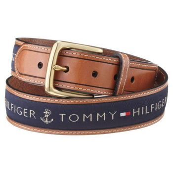 Tommy Hilfiger 2012男品味織帶鑲嵌棕色皮帶(預購)
