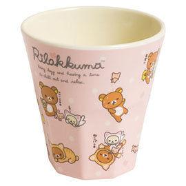 San-X 拉拉熊悠閒貓生活系列塑膠水杯 粉