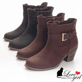 ☆Love Girl☆復古英倫風美型粗跟短靴