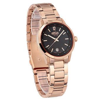 ARSA玫瑰人生時尚腕錶-黑X玫瑰金-36mm