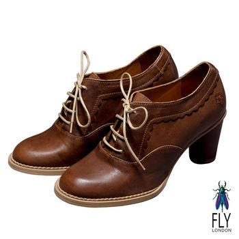 Fly London(女)★城市牛津 綁帶復古木跟牛津圓低粗跟鞋 - 復刻咖